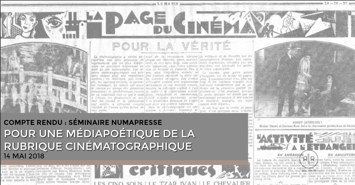 Compte rendu : séminaire Numapresse «écriture cinématographique» (14 mai 2018)