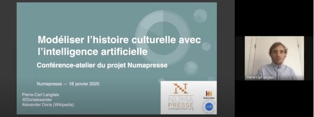 Modéliser l'histoire culturelle avec l'intelligence artificielle : conférence-atelier du projet Numapresse [18 janvier 2021, Replay]