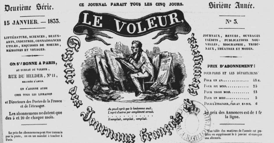 Séminaire Numapresse sur les journaux voleurs au XIXe siècle (en ligne, 17 mai 2021 – 14h30)